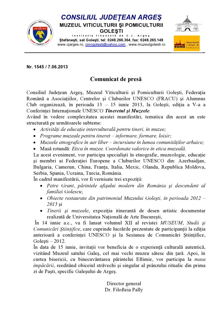 Comunicat presa UNESCO 2013
