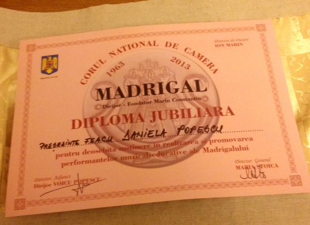 Diploma Jubiliara Madrigal